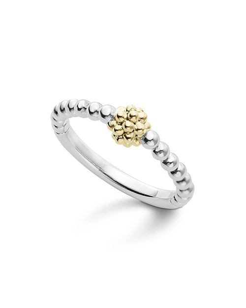 LAGOS - Caviar Icon 18K Gold and Sterling Silver Bead Cluster Stacking Ring