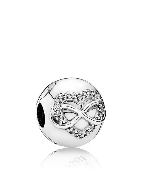 PANDORA - Charm - Sterling Silver & Cubic Zirconia Infinity Heart, Moments Collection