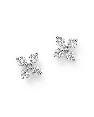 Diamond Small Clover Studs in 14K White Gold, .35 ct. t.w.