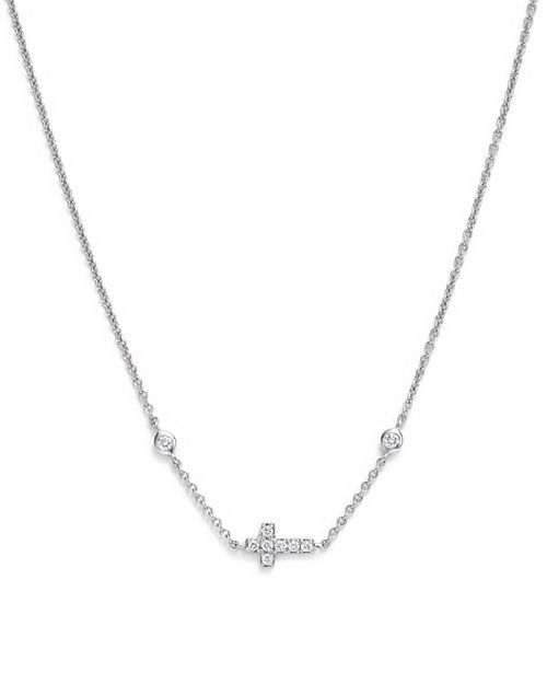 Bloomingdale's - Mini Diamond Cross Necklace in 14K White Gold, .12 ct. t.w. - 100% Exclusive