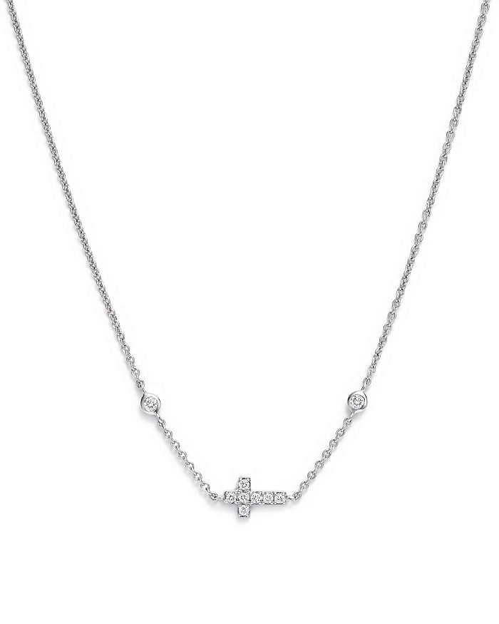 Bloomingdale's - Mini Diamond Cross Necklace in 14K White Gold, .12 ct. t.w.- 100% Exclusive