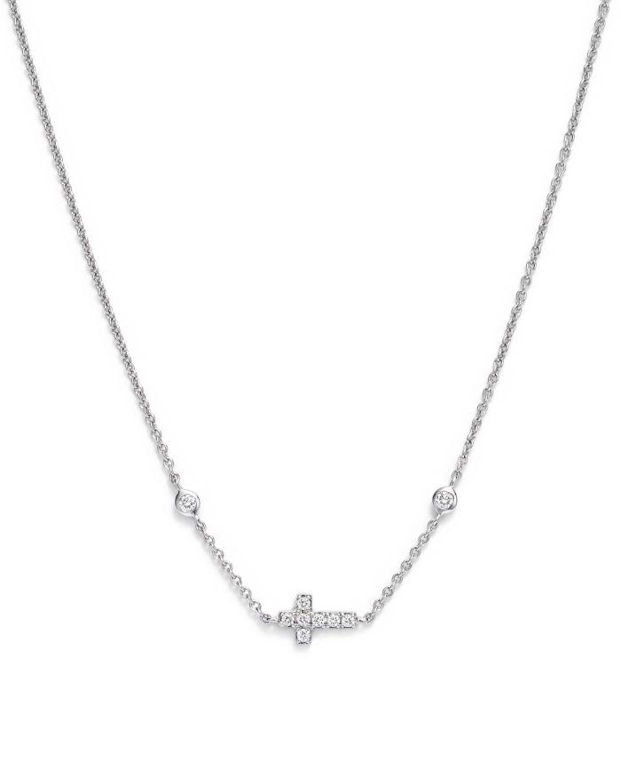 Bloomingdale's Mini Diamond Cross Necklace in 14K White Gold, .12 ct. t.w.  | Bloomingdale's