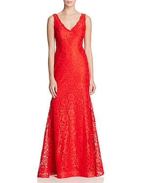 Avery G V-Neck Lace Gown