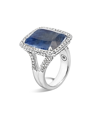 John Hardy  STERLING SILVER CLASSIC CHAIN MAGIC CUT SAPPHIRE RING WITH DIAMONDS