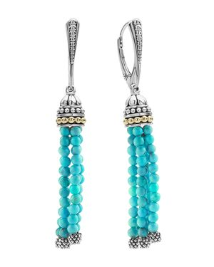 Lagos 18K Gold and Sterling Silver Caviar Icon Tassel Earrings with Turquoise