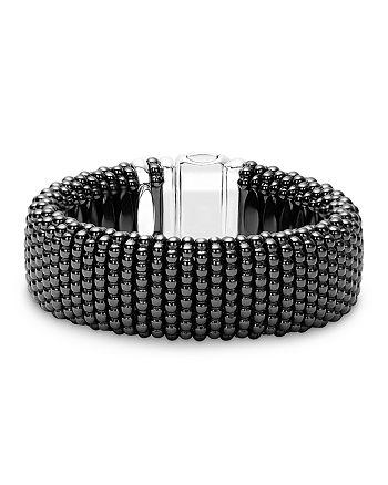 LAGOS - Black Caviar Ceramic 18K Gold and Sterling Silver Statement Bracelet