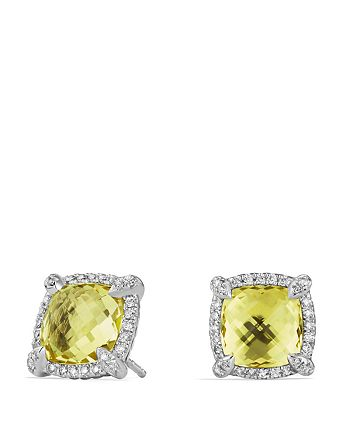 David Yurman - Châtelaine Pavé Bezel Stud Earrings with Lemon Citrine and Diamonds