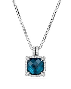 David Yurman - Châtelaine Pavé Bezel Pendant Necklace with Hampton Blue Topaz and Diamonds