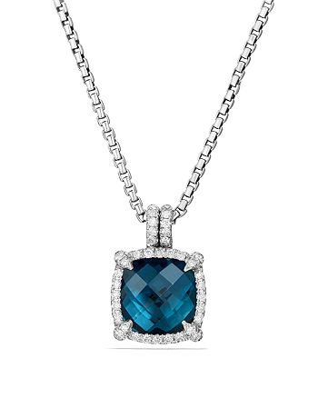 David Yurman - Châtelaine Pavé Bezel Pendant Necklace with Hampton Blue Topaz and Diamonds