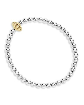 LAGOS - 18K Gold and Sterling Silver Stretch Bracelet with Caviar Icon Bars