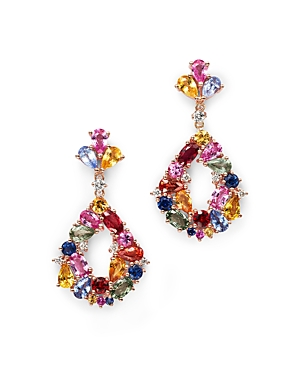 Multi Sapphire Drop Earrings with Diamonds in 14K Rose Gold - 100% Exclusive