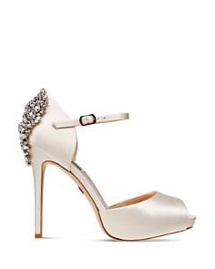 Badgley Mischka - Women's Dawn Embellished Satin Ankle Strap High-Heel Pumps