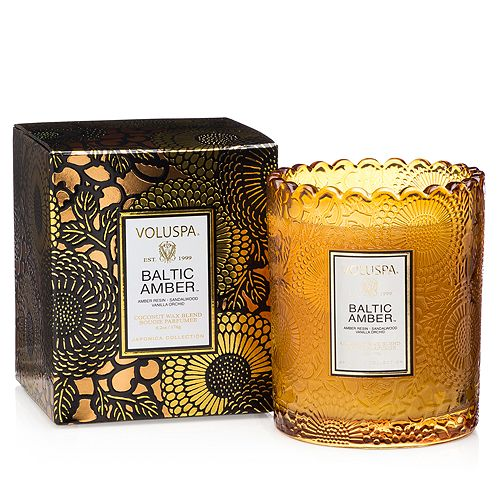 Voluspa - Japonica Baltic Amber Embossed Glass Scalloped Edge Candle