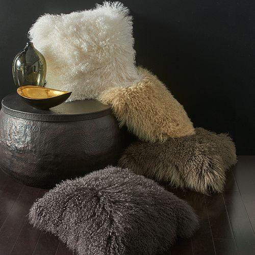 """Donna Karan - Flokati Fur Decorative Pillow, 20"""" x 20"""""""