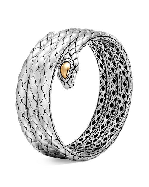 JOHN HARDY - 18K Yellow Gold and Sterling Silver Legends Cobra Triple Coil Bracelet