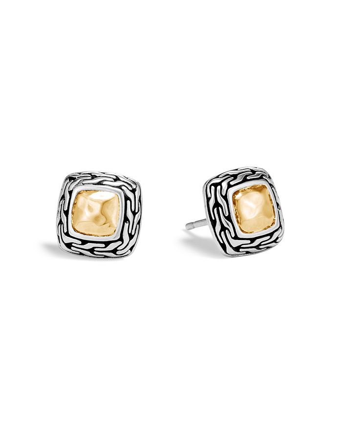 JOHN HARDY - Hammered 18K Yellow Gold and Sterling Silver Classic Chain Stud Earrings