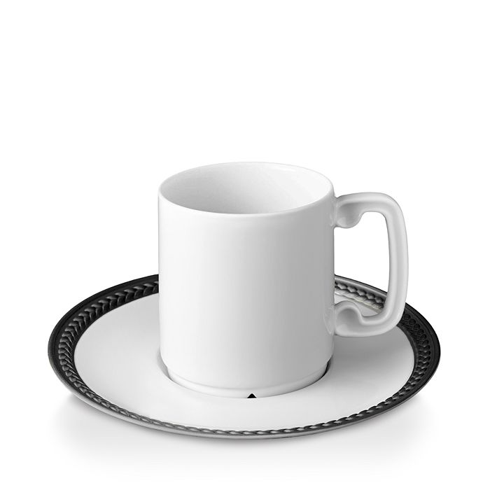 L'Objet - Soie Tressee Black Espresso Cup and Saucer