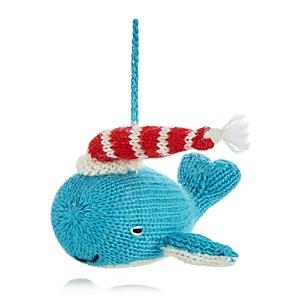 Melange Knit Whale Ornament