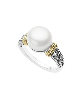 LAGOS - 18K Gold and Sterling Silver Luna Ring with Cultured Freshwater Pearl