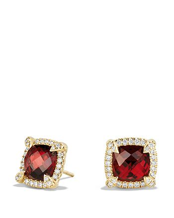 David Yurman - Châtelaine Pavé Bezel Stud Earrings with Garnet and Diamonds in 18K Gold