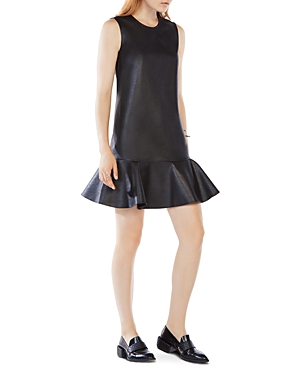 Bcbgmaxazria Sheridan Faux Leather Flounced Dress
