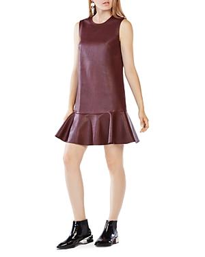 Bcbgmaxazria Sheridan Faux Leather Flounced Dress