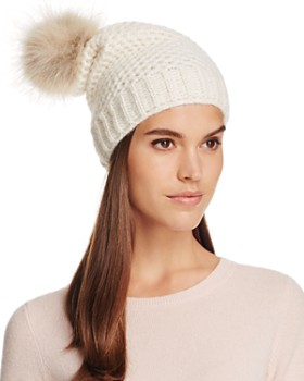 Inverni - Slouchy Beanie with Coyote Fur Pom-Pom - 100% Exclusive