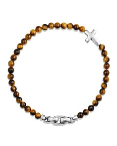 David Yurman - Spiritual Beads Cross Bracelet with Tiger's Eye in Sterling Silver