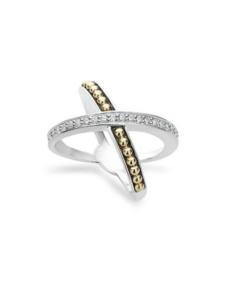 18K Gold And Sterling Silver X Ring With Diamonds in Silver/ Gold/ Diamond