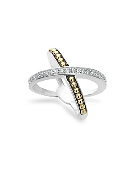 LAGOS - 18K Gold and Sterling Silver X Ring with Diamonds
