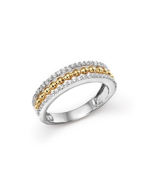 Diamond Beaded Band in 14K Yellow and White Gold, .25 ct. t.w. - 100% Exclusive