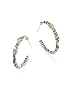 Judith Ripka - 18K Yellow Gold and Sterling Silver Bead Textured Hoop Earrings with Diamonds