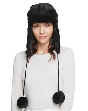 64b968f7268 Rabbit Fur Aviator Hat with Pom-Poms