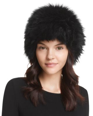 dc3e01fc8d7 Surell Fox Fur Knit Bubble Hat In Black