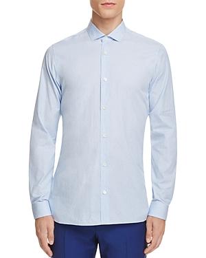Z Zegna Pinstripe Overlay Dot Print Slim Fit Button-Down Shirt