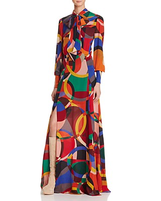 Alice Olivia Bethany Tie Neck Graphic Print Maxi Dress Bloomingdale S Registry