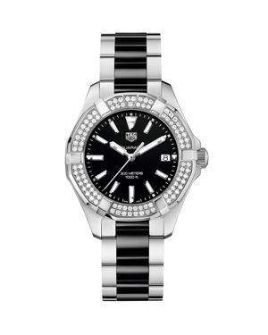 TAG HEUER Way131E.Ba0913 Aquaracer Stainless Steel Diamond And Ceramic Watch in Silver/Black
