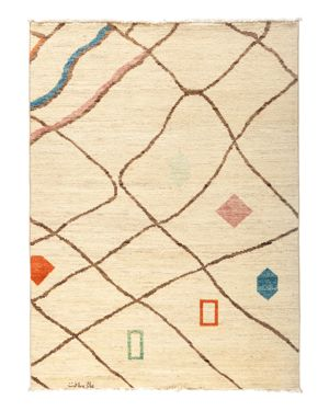 Solo Rugs Moroccan Area Rug - Beige Shapes, 5' x 6'9 1819741