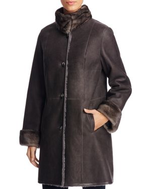 Maximilian Furs Mink Fur Collar Lamb Shearling Coat