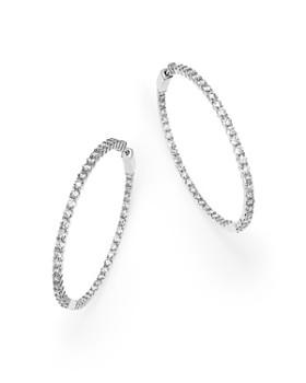 Bloomingdale's - Diamond Inside Out Hoop Earrings in 14K White Gold, 7.0 ct. t.w. - 100% Exclusive