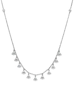 KC Designs - Diamond Dangle Station Necklace in 14K White Gold, 1.15 ct. t.w.