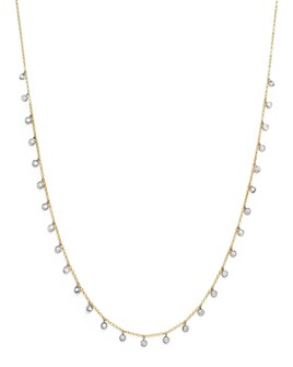 """Meira T - 14K White and Yellow Gold Diamond Bezel Dangle Necklace, 15"""""""