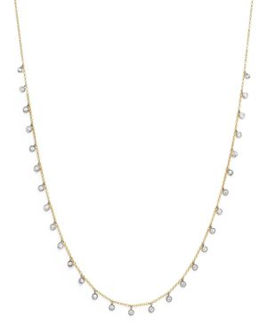 Meira T 14K Yellow and White Gold Diamond Bezel Dangle Necklace, 15
