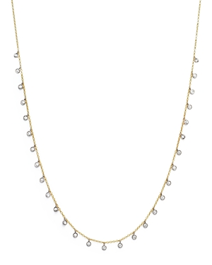 14K Yellow and White Gold Diamond Bezel Dangle Necklace