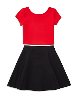 Ralph Lauren Childrenswear Girls' Ponte Colorblock Top & Skirt Set - Sizes S-xl