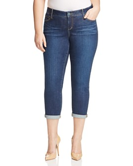 SLINK Jeans Plus - Amber Boyfriend Roll-Cuff Jeans in Dark Blue
