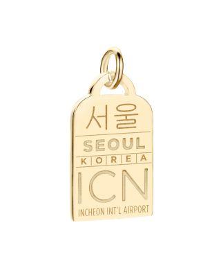 Icn Seoul Luggage Tag Charm, Gold