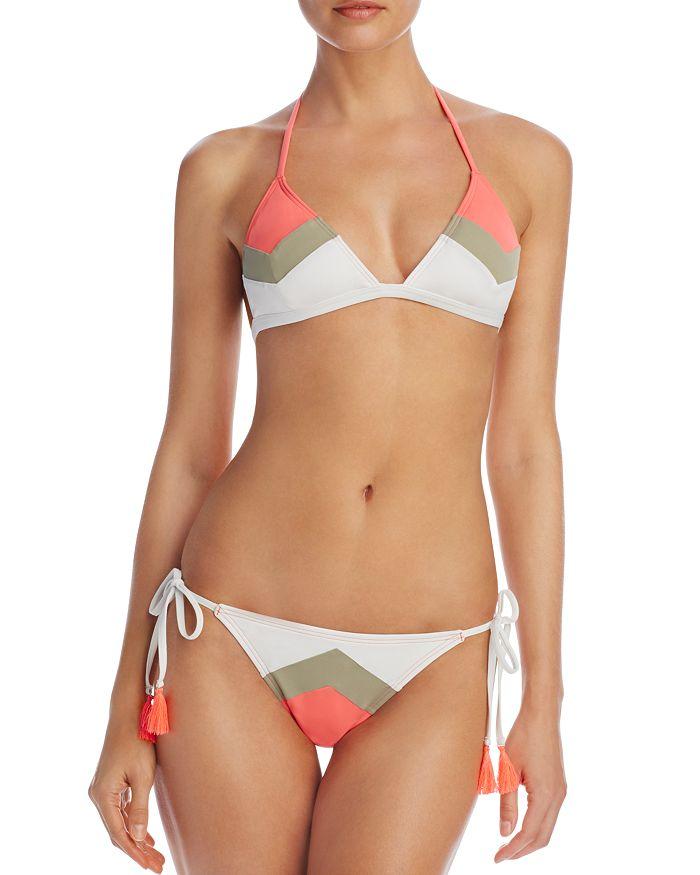 VINCE CAMUTO - Camellia Chevron Stripe Triangle Bikini Top & Camellia Chevron Stripe String Side Tie Bikini Bottom
