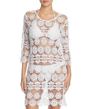 J. Valdi Crochet Medallion Tunic Cover-Up