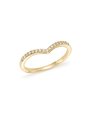 Diamond Micro Pave Stackable Chevron Band in 14K Yellow Gold, .10 ct. t.w. - 100% Exclusive